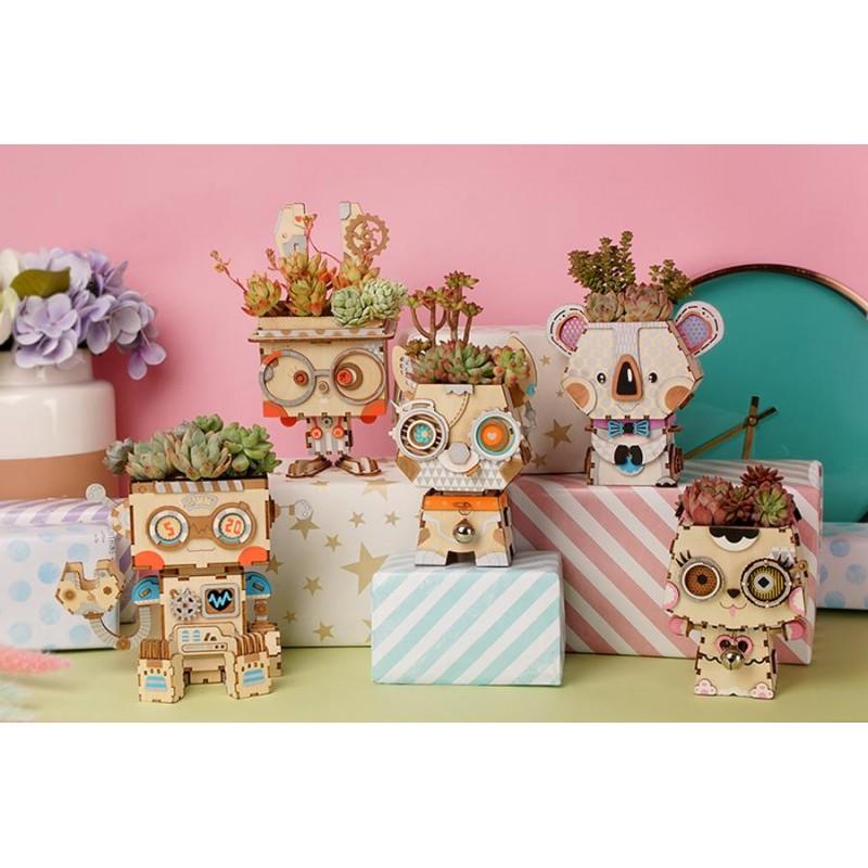 Collection de petits pots de fleurs Robotime.