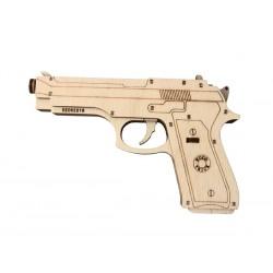 wood trick gun , beretta M9, maquette d'arme, woodtrick, pistolet en bois, ugears, wooden city tridipuz.fr
