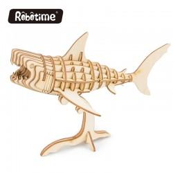Requin en bois à assembler sans colle, https://tridipuz.fr, robotime, jeux de constructions en bois, puzzle 3d