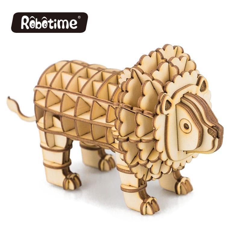Lion en bois à assembler sans colle, https://tridipuz.fr, Robotime, jeux de construction, puzzle 3d