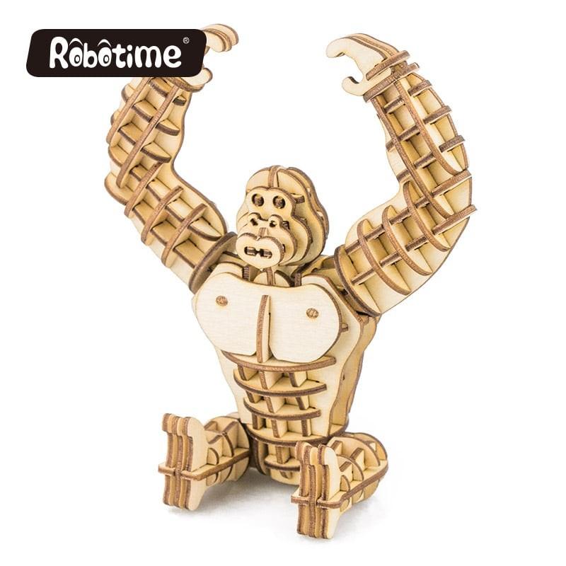 Robotime Puzzle 3d animaux, le Gorille, Robotime Puzzles 3d en bois