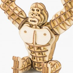 Gorille en bois à assembler sans colle, https://tridipuz.fr, Robotime, jeux de constructions, puzzle 3d, animaux à construire.
