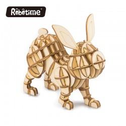 Robotime Puzzle 3d animaux, le Lapin, Robotime Puzzles 3d en bois
