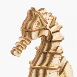 Hippocampe en bois à assembler sans colle, https://tridipuz.fr, Robotime, jeux de constructions, puzzle 3d, animaux à construire