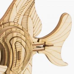 Poisson en bois à assembler sans colle, https://tridipuz.fr, Robotime, jeux de constructions, puzzle 3d, animaux à construire.