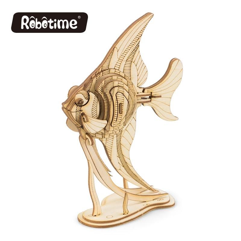 Le poisson ange, collection animaux en bois.