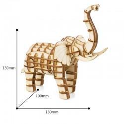 Elephant en bois à assembler sans colle, https://tridipuz.fr, Robotime, jeux de constructions, puzzle 3d, animaux à construire