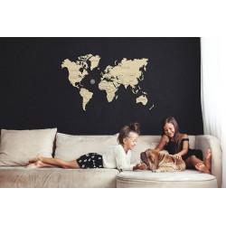 décoration murale, carte du monde en bois wooden city