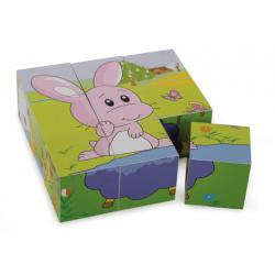 Small Foot Puzzle cube en bois, amis des animaux Jouets en bois de 6 à 24 mois