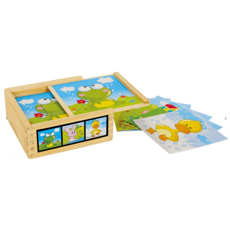 Puzzle cube en bois, amis des animaux