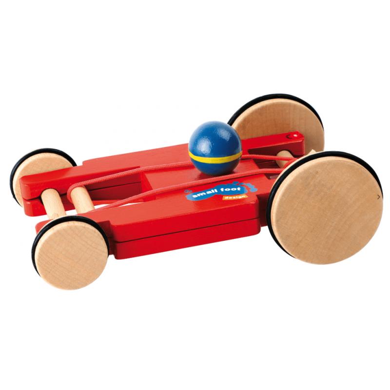 Small Foot Petite voiture de course en bois propulsée par élastique Jeux et jouets en bois enfants