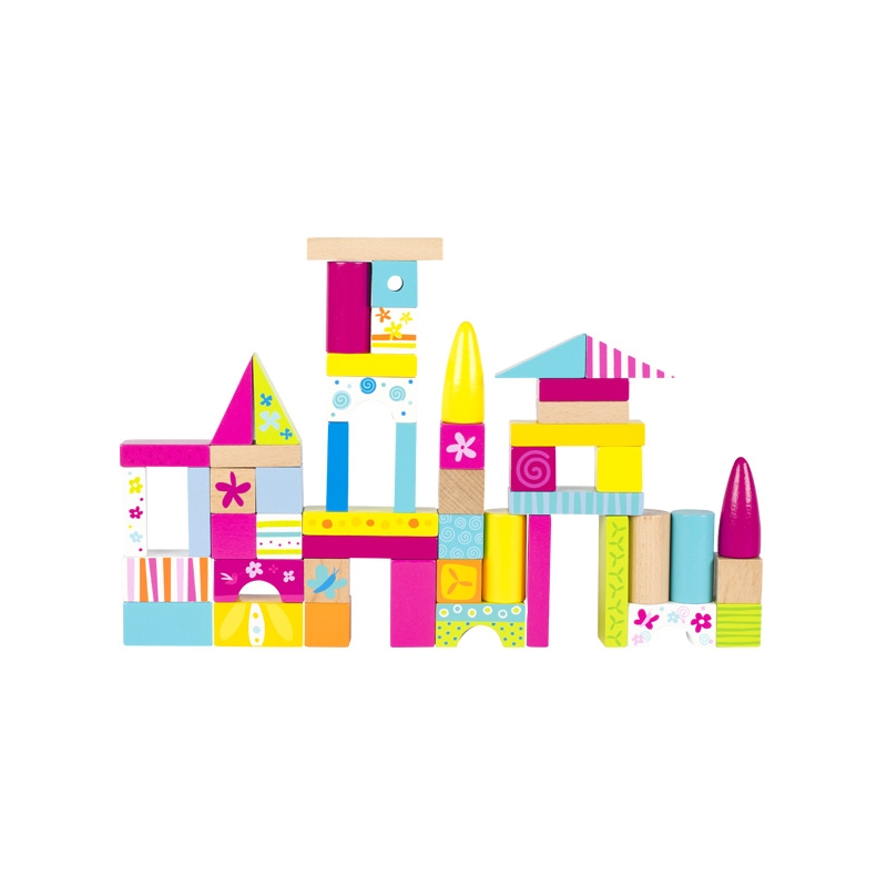 GOKI Jeu de cubes de construction colorés, Goki Susibelle Jouets en bois de 6 à 24 mois