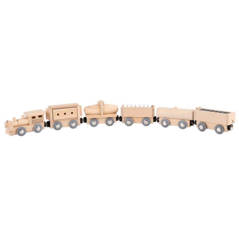 Small Foot Petit Train en bois, 1 locomotive et 5 wagons Trains en bois, circuits et accessoires trains