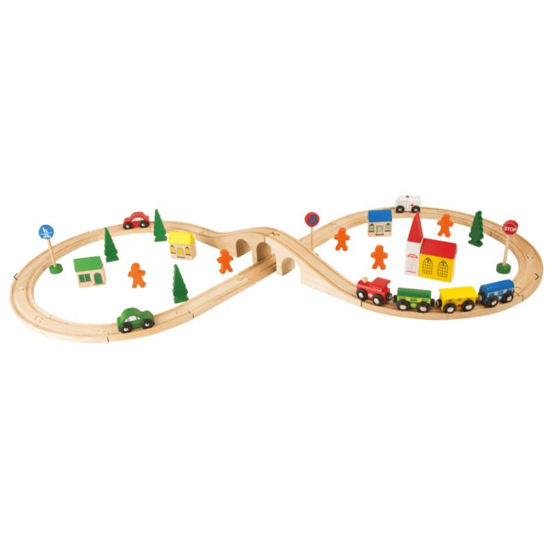 circuit de train en bois e, forme de huit