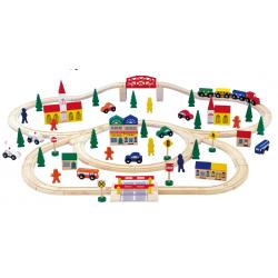 Grand circuit de train en bois, 100 pièces, nombreux accessoires.