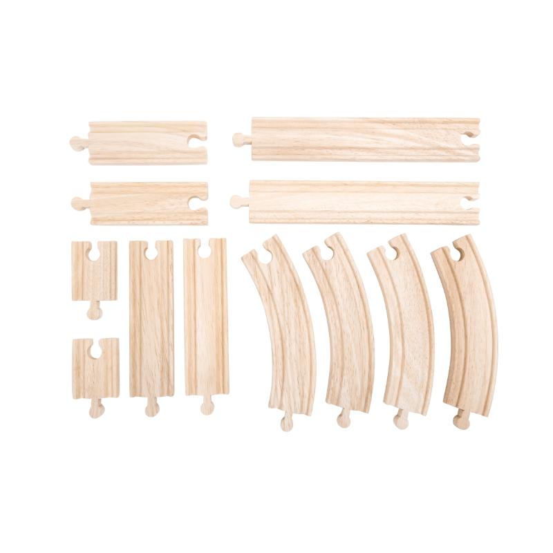 extension de réseau de petit train en bois, 12 pièces.