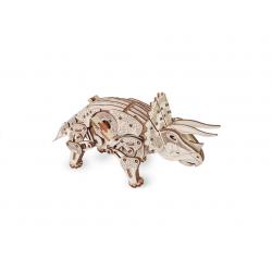 Eco Wood Art Puzzle 3D mécanique, le tricératops Animaux, dinosaures, insectes