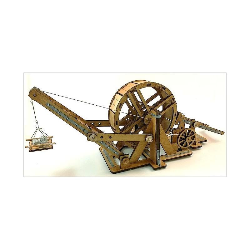 Maquette médiévale, grande grue à tambour