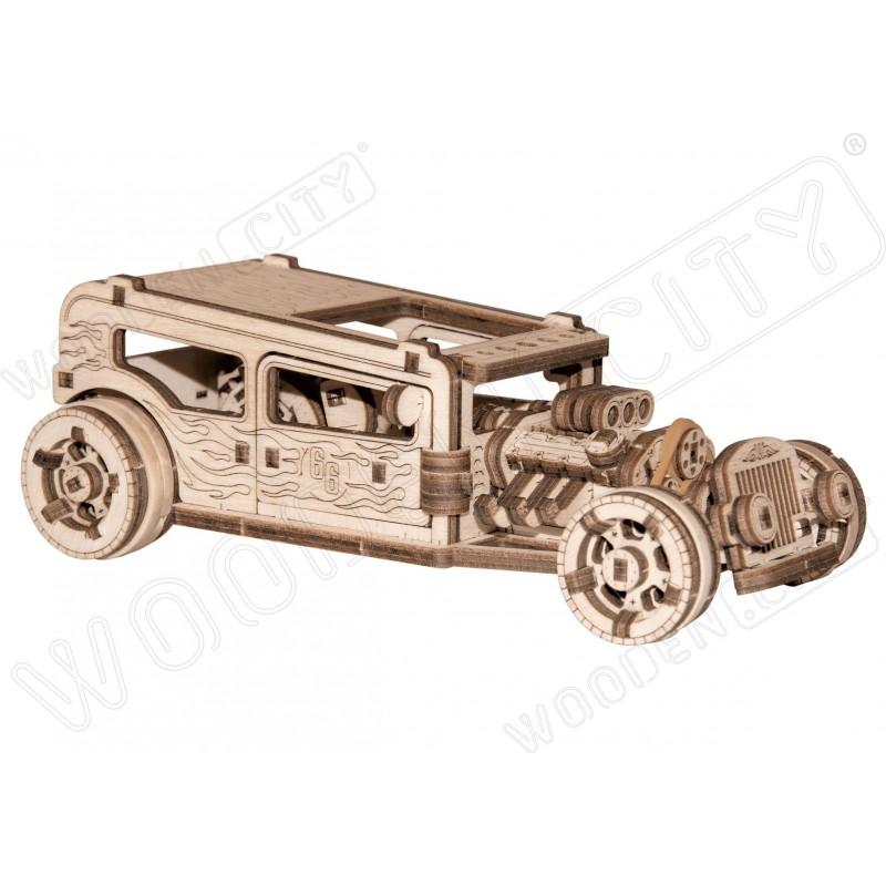 Maquette mécanique de HotRod, en bois