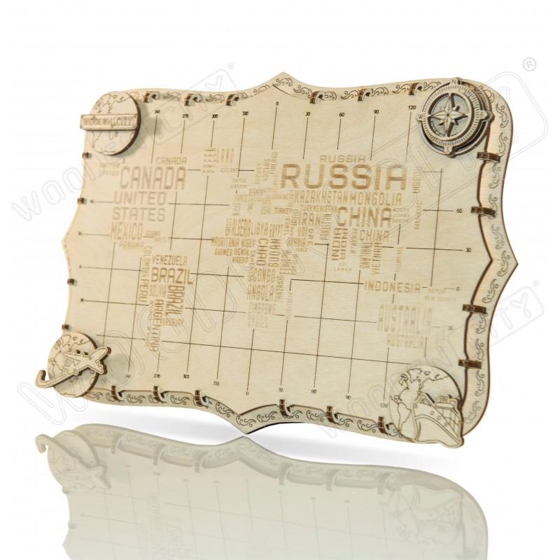 Mini carte du monde Wooden City, modèle avec mots