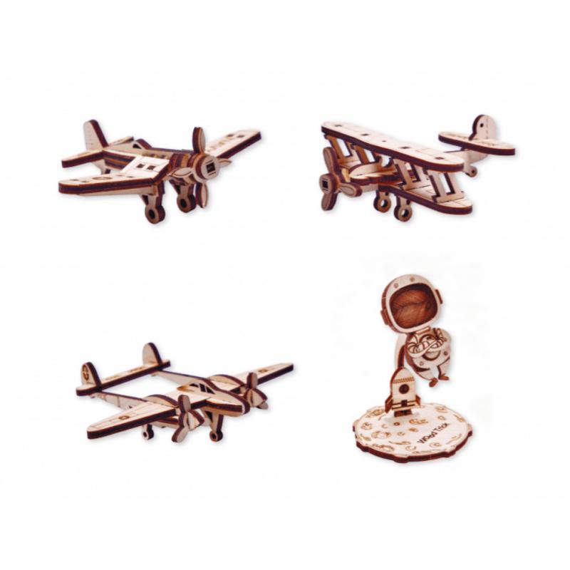 WOOD TRICK Maquettes d'avions silhouette et astronaute, Woodtrick Avions