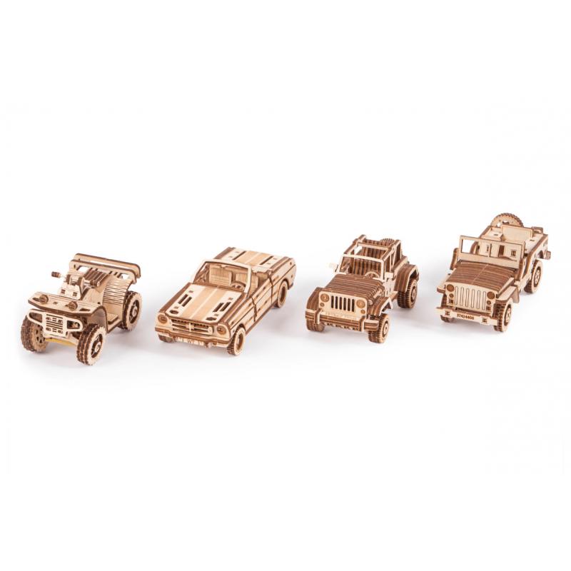 WOOD TRICK Set de 4 maquettes de voitures et quad, WoodTrick VOITURES