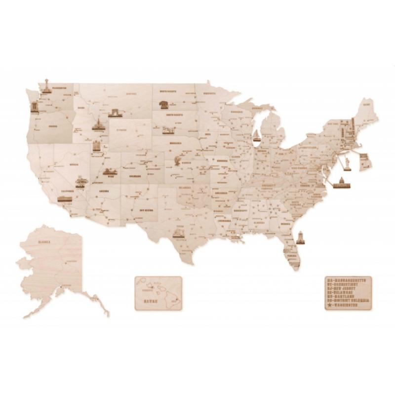 Carte des USA en bois version XL, Wood Trick.