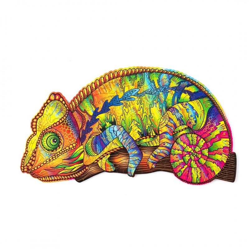 Puzzle de caméléon, puzzle en bois multicolore.