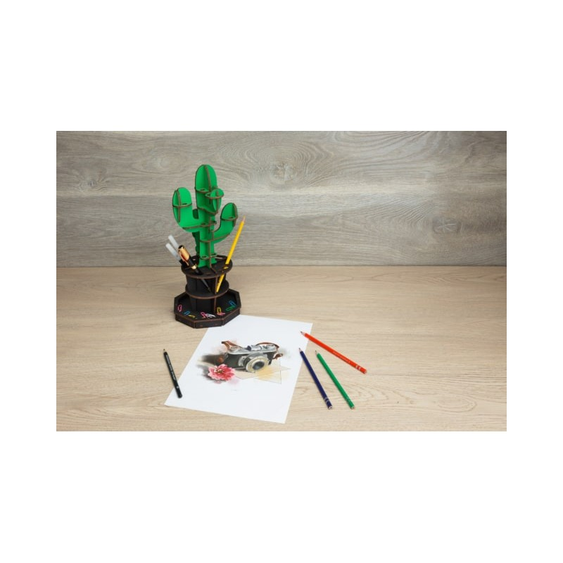 Eco Wood Art Organisateur de Bureau en forme de Cactus Puzzles 3d en bois