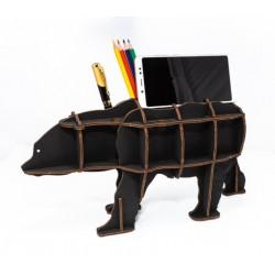 Eco Wood Art Organisateur de bureau, Ours Noir Puzzles 3d en bois