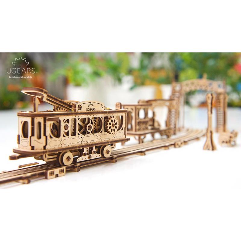 UGEARS maquette en bois mecanique,la ligne de tram. Puzzles 3d en bois