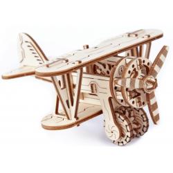 biplan puzzle 3d wooden city, maquette d'avion en bois.