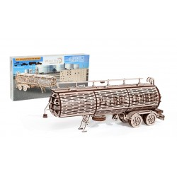 3D puzzle of a tank trailer, built by wood trick, sold by tridipuz.fr