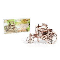 3d puzzle of the first car ever, built by wood trick, sold by tridipuz.fr