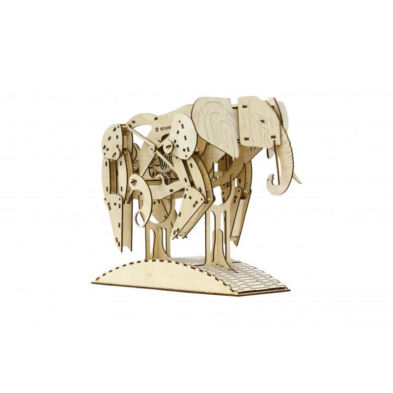 Mr Plywood, l'éléphant, puzzle en 3 dimensions mécanique