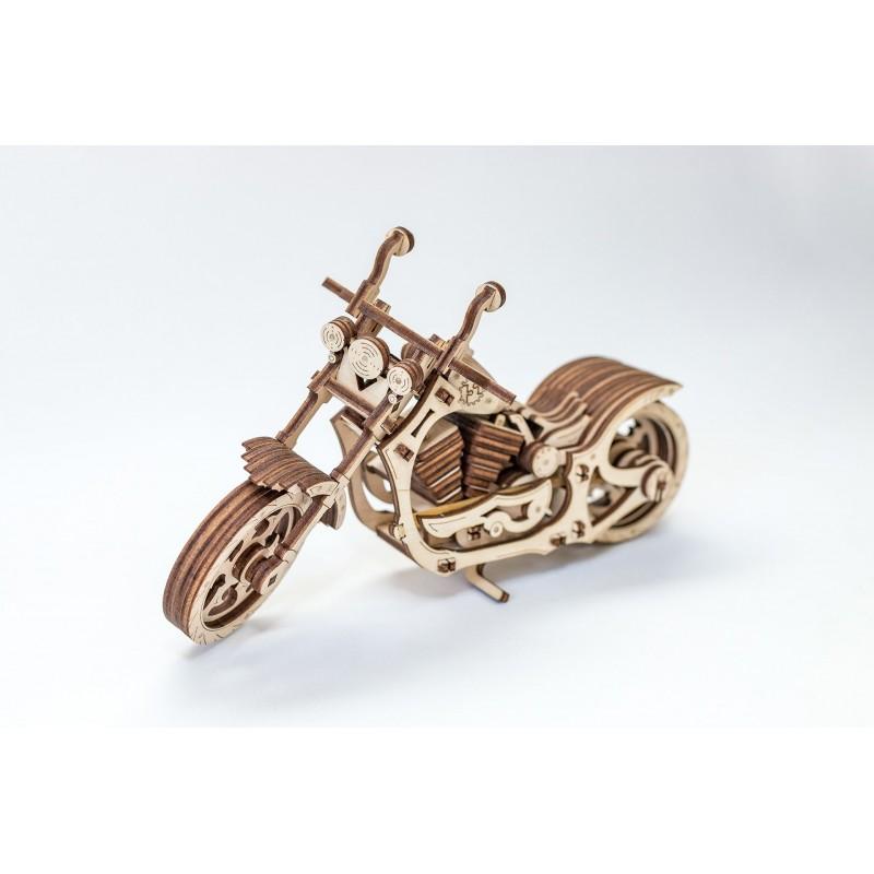 puzzle 3d en bois, petite moto en bois à assembler