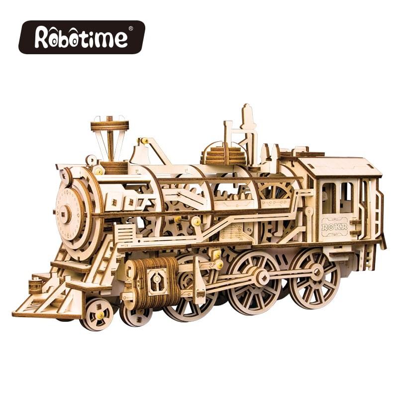 la Locomotive vue par Robotime, puzzle 3d mécanique