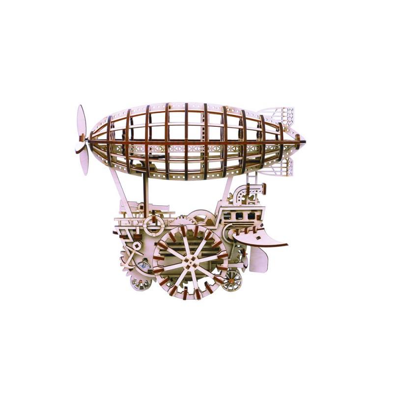 Robotime le dirigeable vue par Robotime, puzzle 3d mécanique. Univers Steampunk
