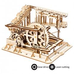 circuit de billes en bois, modèle à crémaillère