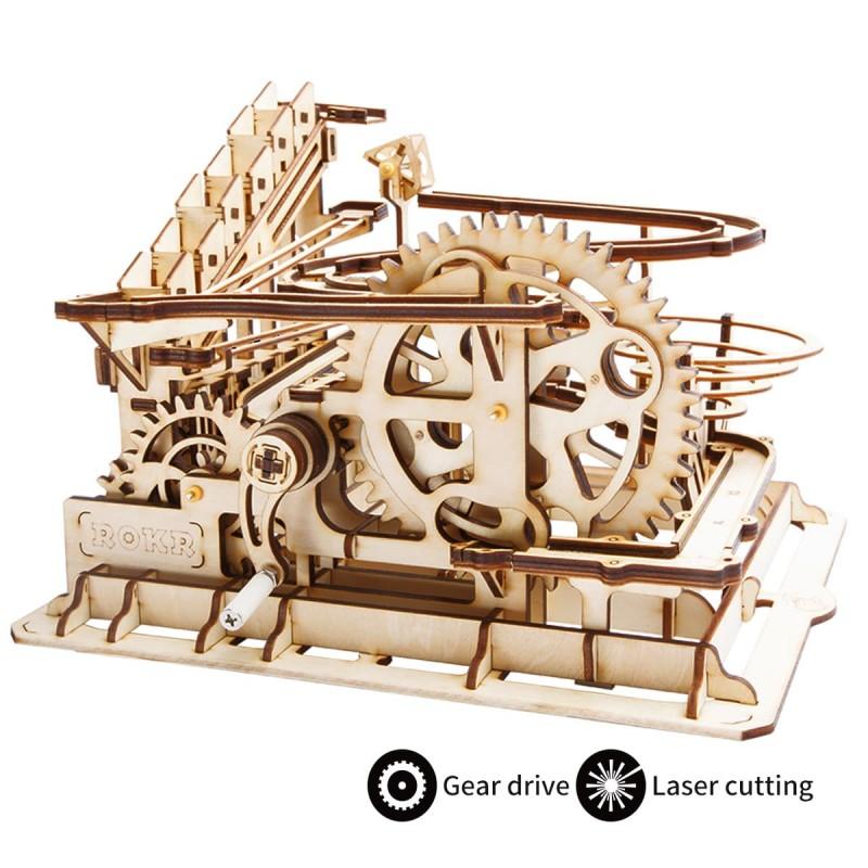 parcours de billes en bois, modèle roue à eau