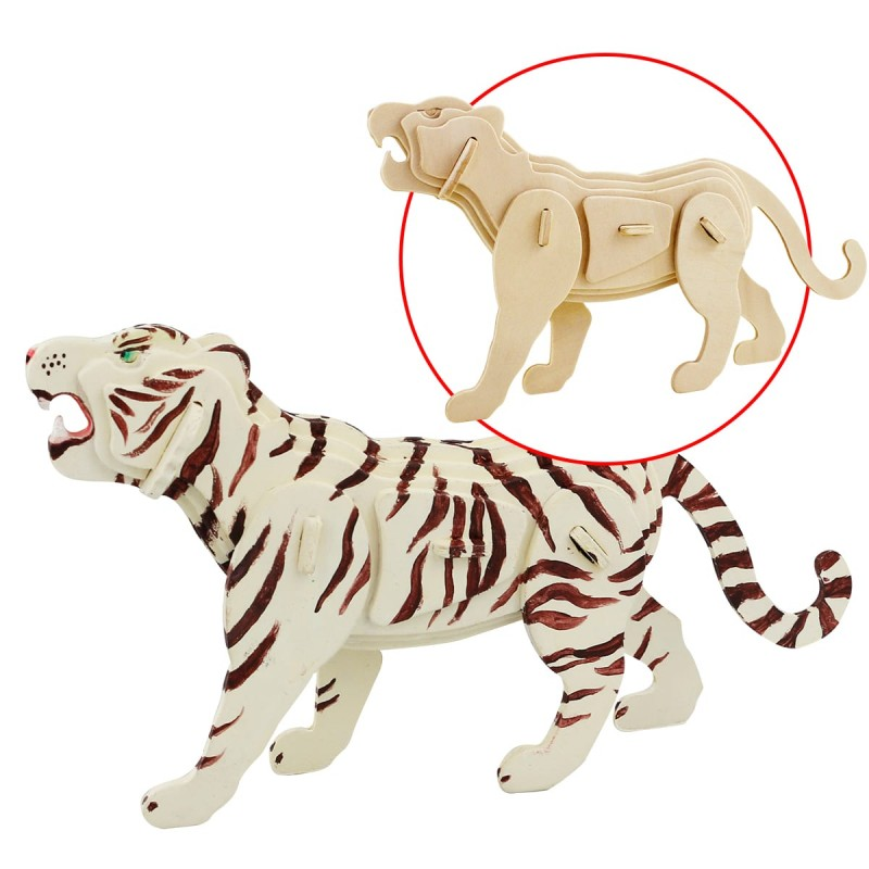 Joli Tigre blanc à assembler et peindre